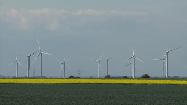 ws view of wind turbines and electricity pylons with farmland in foreground / walland marsh, sussex, uk - wind turbine stock videos & royalty-free footage