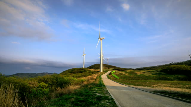 View of wind turbines and landscape of Yeongdeok Wind Farm (famous travel destination in Korea)