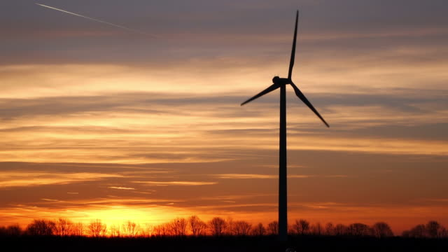 WS View of wind turbines at sunrise / Kirf, Rhineland Palatinate, Germany