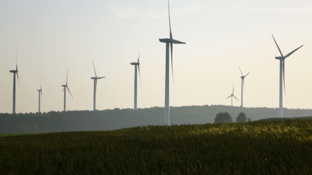 WS View of wind turbines near Saargau / Merzkirchen, Rhineland Palatinate, Germany