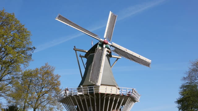 ms la view of windmill at keukenhof gardens / lisse, south holland, netherlands - south holland stock videos and b-roll footage