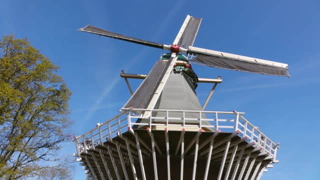 ms la view of windmill at keukenhof gardens / lisse, south holland, netherlands - dutch culture stock videos and b-roll footage