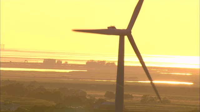 aerial ms view of windmill / langeness, schleswig-holstein, germany - north sea stock videos & royalty-free footage