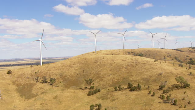 ws aerial view of windmills / macarthur, victoria, australia - electrical component stock videos & royalty-free footage