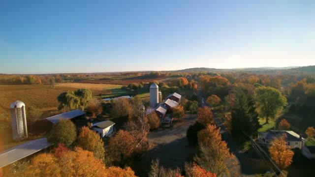 WS AERIAL POV View of windpump and grain elevators with farmland in background