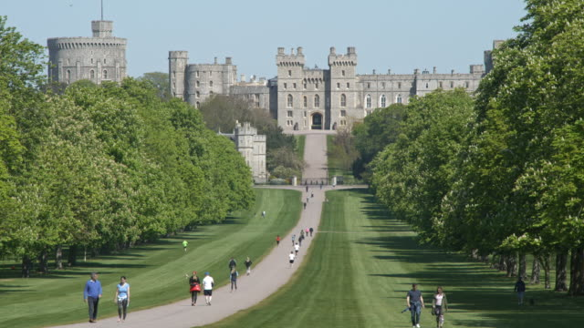 view of windsor residents exercising on the long walk, located between windsor castle and the copper horse statue on the east of the town centre. the... - ウィンザー城点の映像素材/bロール