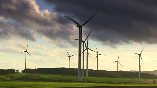 WE View of Windturbines in landscape / Kirf, Rhineland Palatinate, Germany