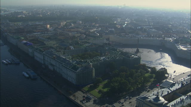 WS POV ZI ZO AERIAL View of Winter Palace and Palace Square in St Petersburg / Saint Petersburg City, Saint Petersburg, Russia