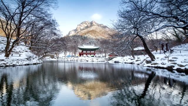 View of winter scenery of Baekyangsa Temple in Baekhakbong mountain (Famous tourist attractions)