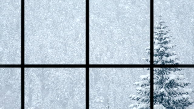 view of winter through window, loopable - window frame stock videos and b-roll footage