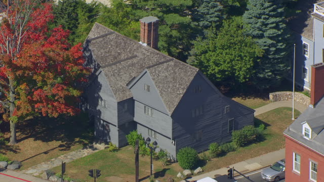 ms aerial pov view of witch house and colonial oldest house at mcintyre historic district / salem, massachusetts, united states - witch stock videos & royalty-free footage