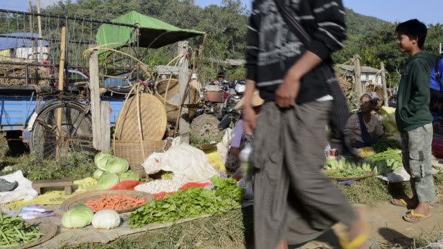 ms view of woman selling vegetables at local market / nyaungshwe, shan state, myanmar - shan state stock videos & royalty-free footage