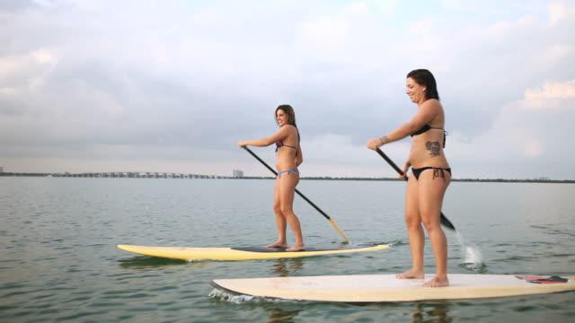 WS TS View of women riding paddle boards in Miami harbor / Miami Beach, Florida, USA
