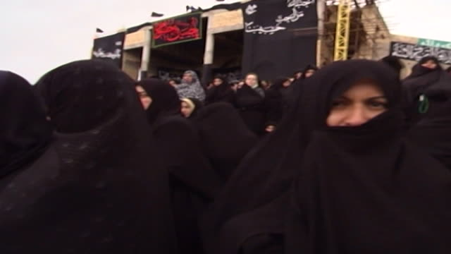 view of women watching azadari rituals during ashura at a mosque in isfahan province ashura the tenth day of the islamic month of muharram... - ashura muharram stock videos & royalty-free footage