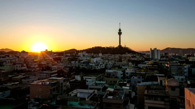 view of woobang tower(landmark of daegu city) - daegu stock videos and b-roll footage