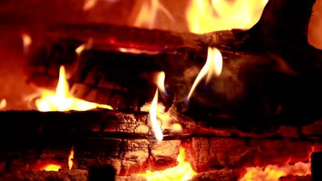 cu pan tu td view of wood burning at fireplace / lamy, new mexico, usa - lamy new mexico stock videos and b-roll footage