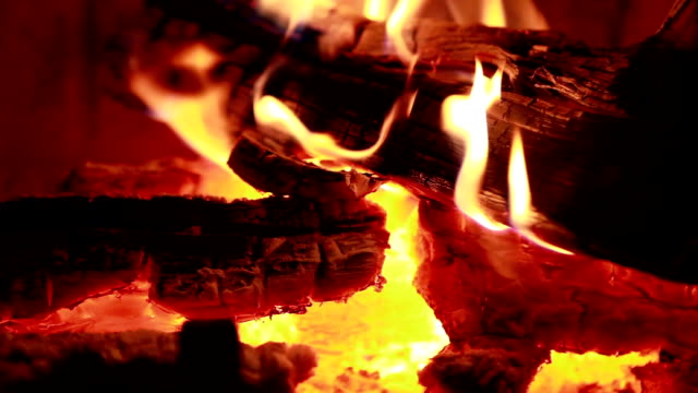 cu tu view of wood burning at fireplace / lamy, new mexico, usa - lamy new mexico stock videos & royalty-free footage
