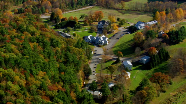 ws aerial td view of wooded area in mountain range / vermont, united states - vermont stock videos & royalty-free footage