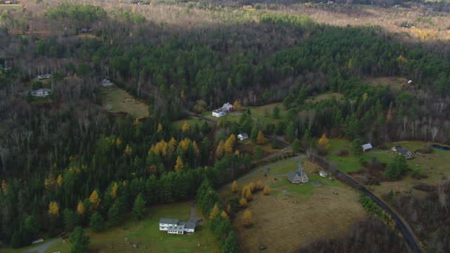 MS AERIAL ZI View of wooded area with small village / New Hampshire, United States
