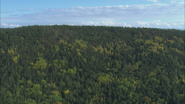 vídeos y material grabado en eventos de stock de ws pov aerial view of wooded mountains and lake baika / lake baikal, siberia, russia  - russia