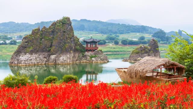 ws t/l view of wooden boat and dodamsambong (dodam three hills) with gazebo / dannyang, chungcheongbuk do, south korea - gazebo stock videos and b-roll footage