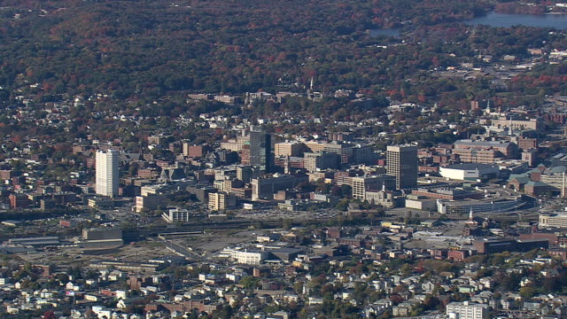 WS AERIAL TU ZI View of Worcester city / Massachusetts, United States