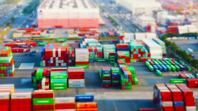 view of work at a cargo container port - tilt shift stock videos and b-roll footage