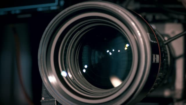 view of working camera lens - broadcasting stock videos & royalty-free footage