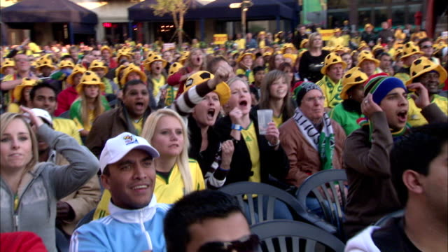 ws zo cs view of world cup 2010 soccer supporters show their supporting for bafana bafana at fanpark in sandton / johannesburg, gauteng, south africa - fifa world cup stock videos & royalty-free footage