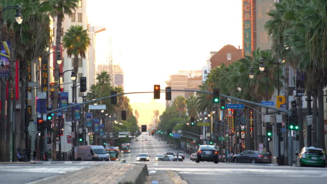 stockvideo's en b-roll-footage met uitzicht op de wereldberoemde hollywood boulevard district in los angeles, californië, verenigde staten - hollywood walk of fame