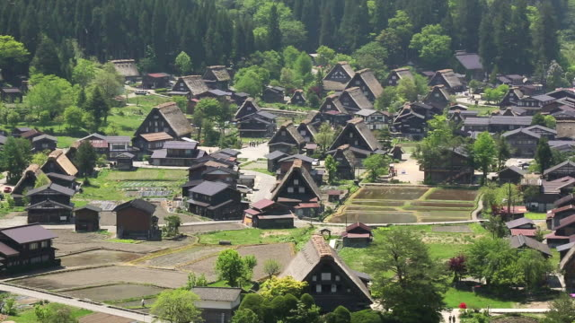 WS View of World heritage with village / Shirakawa go, Gifu Prefecture, Japan