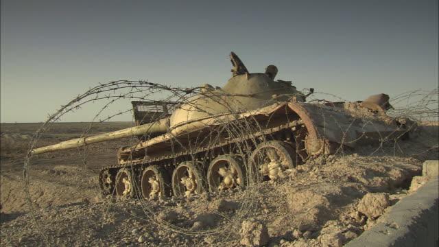 ws view of wrecked tank at iran-iraq border / khorramshahr, khuzestan province, iran - iran stock videos and b-roll footage