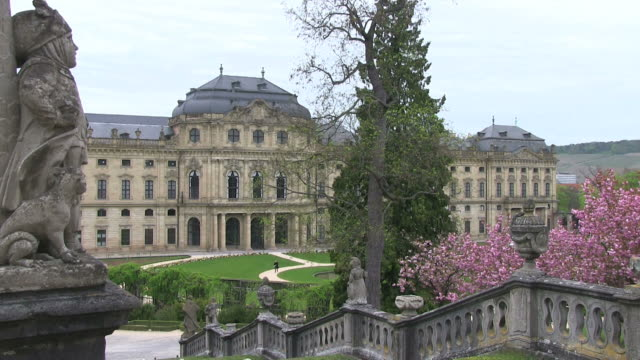 ms view of  wurzburg residence with court gardens / wurzburg, bavaria, germany - wurzburg stock videos and b-roll footage