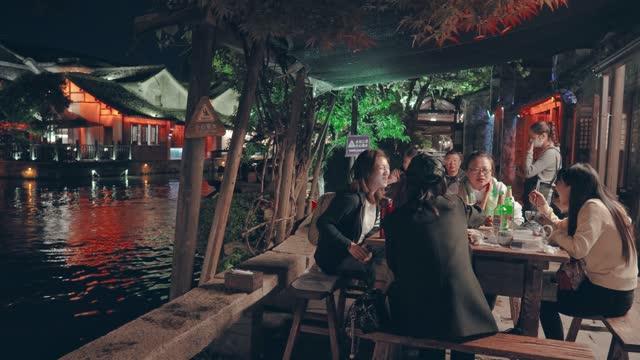 view of wuzhen water town,zhejiang,china. - tourist resort stock videos & royalty-free footage
