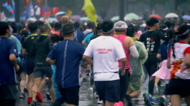 view of xi'an international marathon races,china. - body building stock videos & royalty-free footage