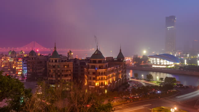 t/l ws ha zo view of xinghai square at night/dalian, china. - wide stock videos & royalty-free footage