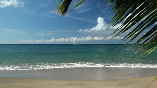 WS View of Yacht on Horizon in Caribbean / Nevis, Saint Kitts and Nevis