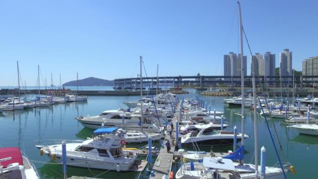 stockvideo's en b-roll-footage met view of yachts at busan yacht club, haeundae - voor anker gaan