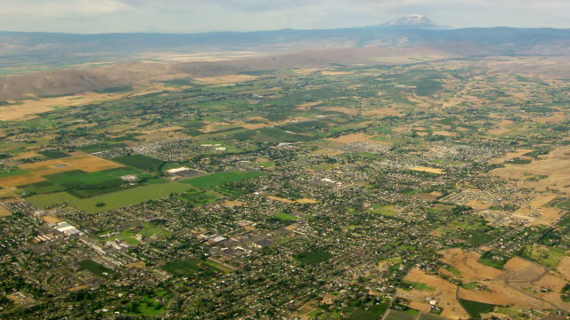ws aerial view of yakima valley with mount rainier in foreground / washington, united states - stato di washington video stock e b–roll