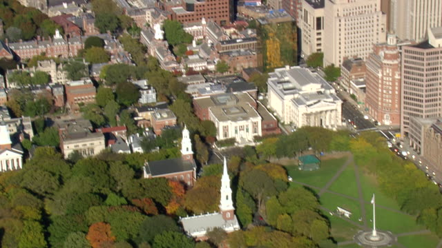 MS AERIAL ZI PAN ZO View of Yale University city / Connecticut, United States