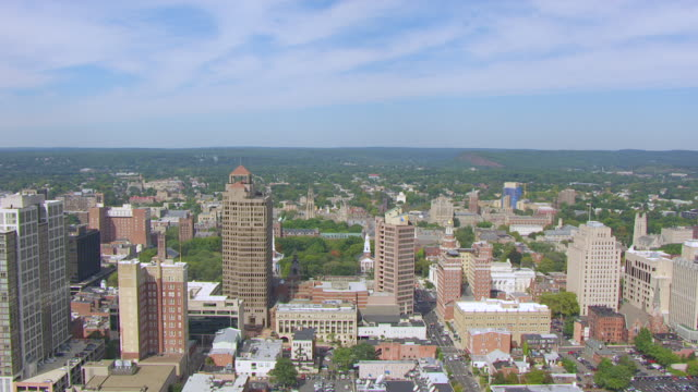 WS AERIAL POV View of Yale University Old Campus and Harkness Tower / New Haven, Connecticut, United States