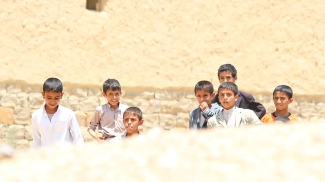 view of yemeni children of amran. - yemen stock videos & royalty-free footage