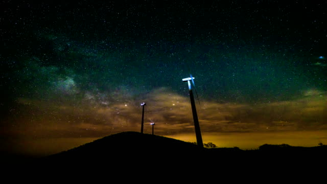 View of Yeongdeok Wind Farm (popular location in Korea) and milky way at night