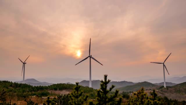 View of Yeongdeok Wind Farm (popular location in Korea) at sunset