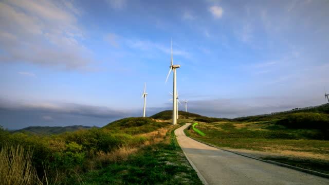 vídeos de stock e filmes b-roll de view of yeongdeok wind farm (popular location in korea) - quatro objetos