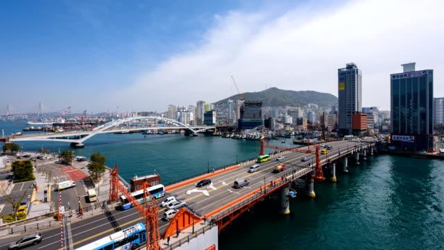 view of yeongdodaegyo bascule bridge (famous local landmark in busan) in busan - bascule bridge stock videos and b-roll footage