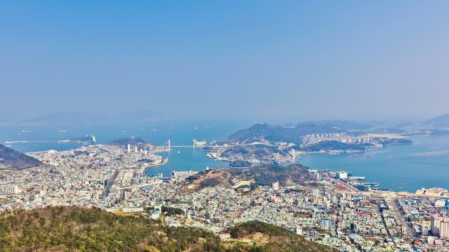ws t/l view of yeosu cityscape (2012 world expo city) / yeosu, south korea - mindre än 10 sekunder bildbanksvideor och videomaterial från bakom kulisserna