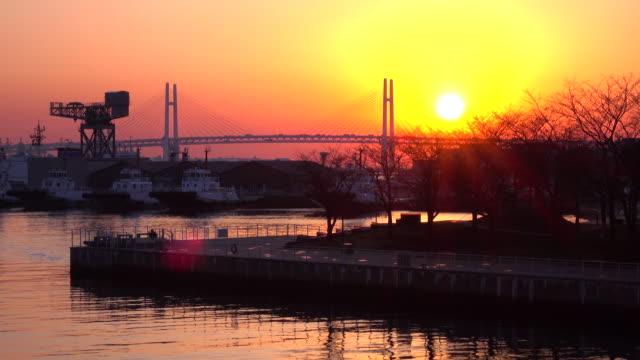 View of Yokohama bay bridge at morning