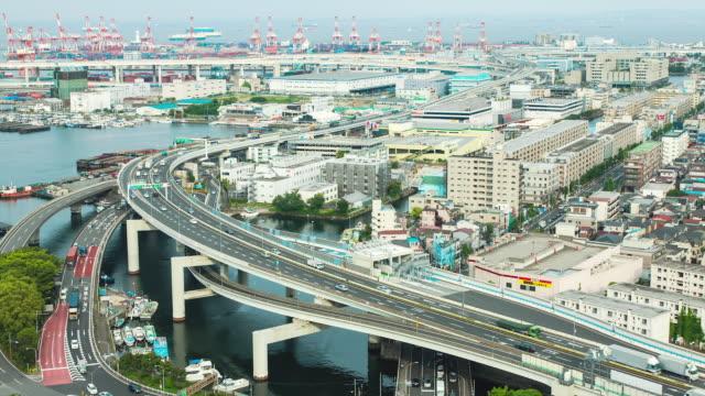 WS T/L View of yokohama port and elevated highway / Yokohama, Kanagawa, Japan