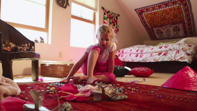 ws td view of young girl sitting and singing in her room / lamy, new mexico, united states - lamy new mexico stock videos & royalty-free footage
